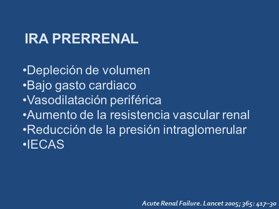 IRA PRERRENAL Depleción de volumen Bajo gasto cardiaco Vasodilatación periférica Aumento de la resistencia vascular renal Reducción de la presión intr