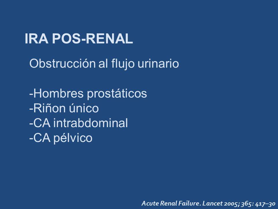 IRA POS-RENAL Acute Renal Failure. Lancet 2005; 365: 417–30 Obstrucción al flujo urinario -Hombres prostáticos -Riñon único -CA intrabdominal -CA pélv