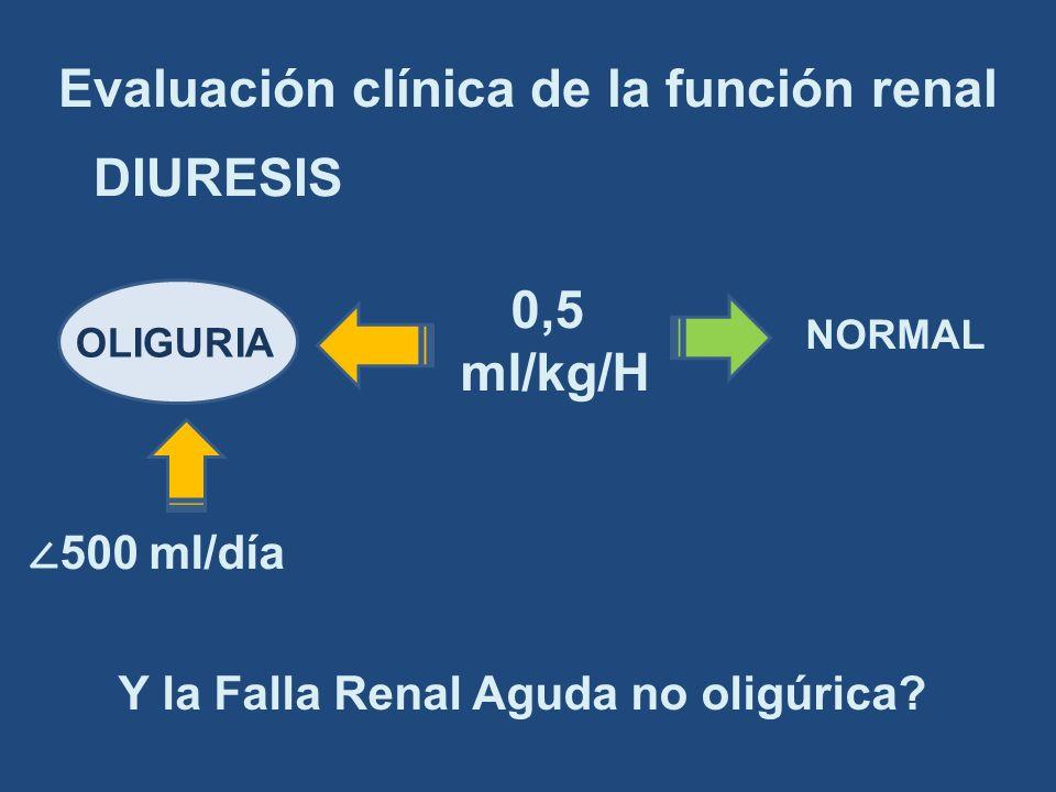 DIURESIS Y la Falla Renal Aguda no oligúrica? 0,5 ml/kg/H OLIGURIA NORMAL 500 ml/día Evaluación clínica de la función renal