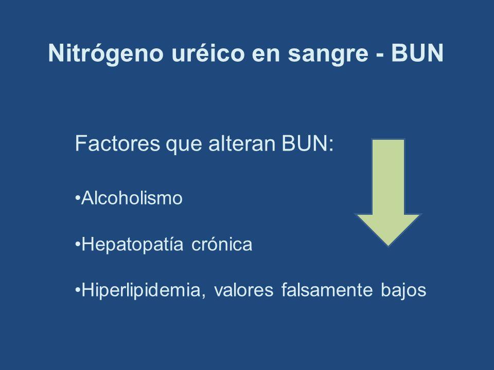 Nitrógeno uréico en sangre - BUN Factores que alteran BUN: Alcoholismo Hepatopatía crónica Hiperlipidemia, valores falsamente bajos