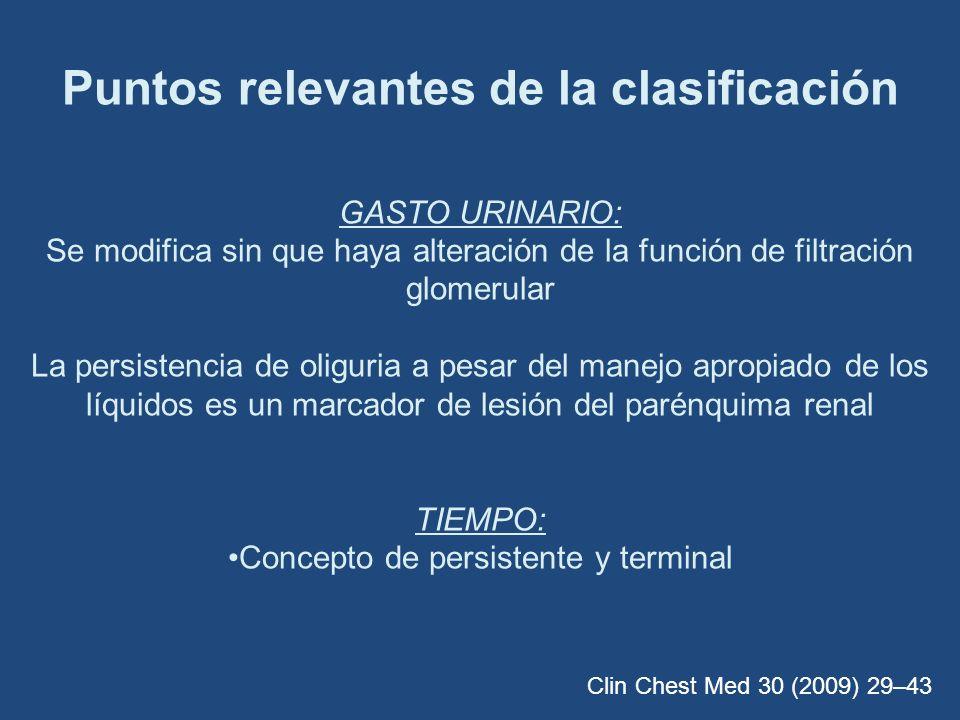 Puntos relevantes de la clasificación GASTO URINARIO: Se modifica sin que haya alteración de la función de filtración glomerular La persistencia de ol