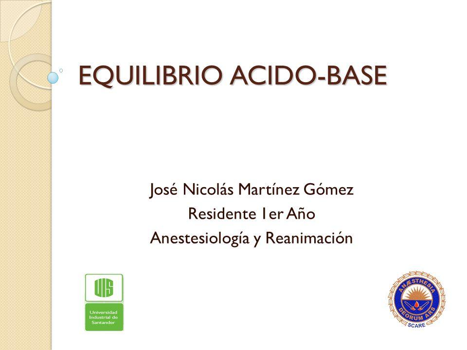 EQUILIBRIO ACIDO-BASE José Nicolás Martínez Gómez Residente 1er Año Anestesiología y Reanimación