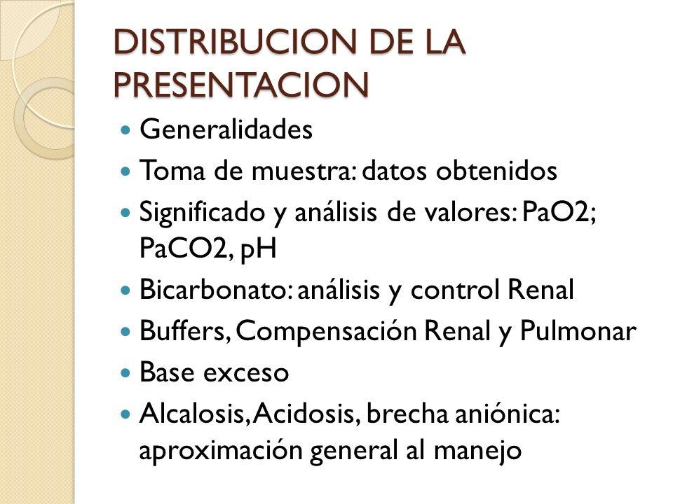 DISTRIBUCION DE LA PRESENTACION Generalidades Toma de muestra: datos obtenidos Significado y análisis de valores: PaO2; PaCO2, pH Bicarbonato: análisi