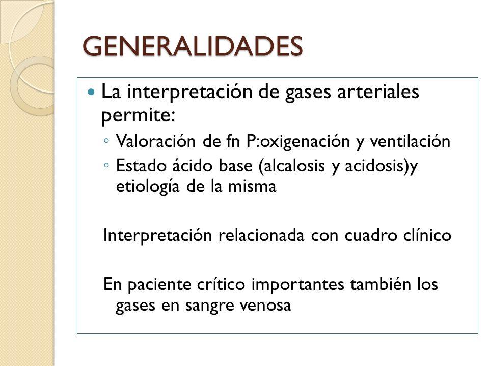 GENERALIDADES La interpretación de gases arteriales permite: Valoración de fn P:oxigenación y ventilación Estado ácido base (alcalosis y acidosis)y et