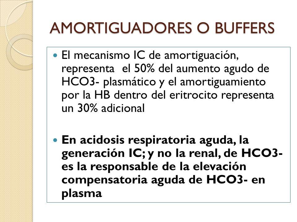 El mecanismo IC de amortiguación, representa el 50% del aumento agudo de HCO3- plasmático y el amortiguamiento por la HB dentro del eritrocito represe