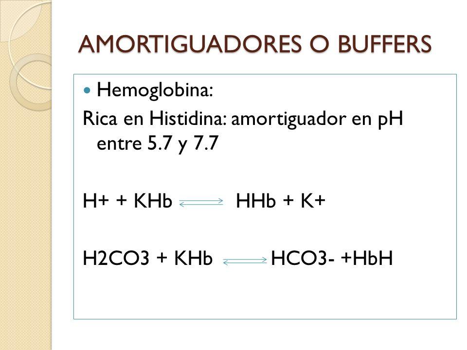 Hemoglobina: Rica en Histidina: amortiguador en pH entre 5.7 y 7.7 H+ + KHb HHb + K+ H2CO3 + KHb HCO3- +HbH AMORTIGUADORES O BUFFERS