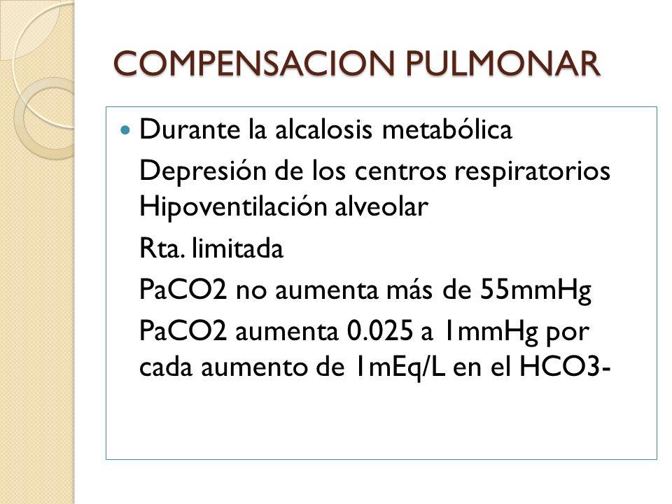 Durante la alcalosis metabólica Depresión de los centros respiratorios Hipoventilación alveolar Rta. limitada PaCO2 no aumenta más de 55mmHg PaCO2 aum