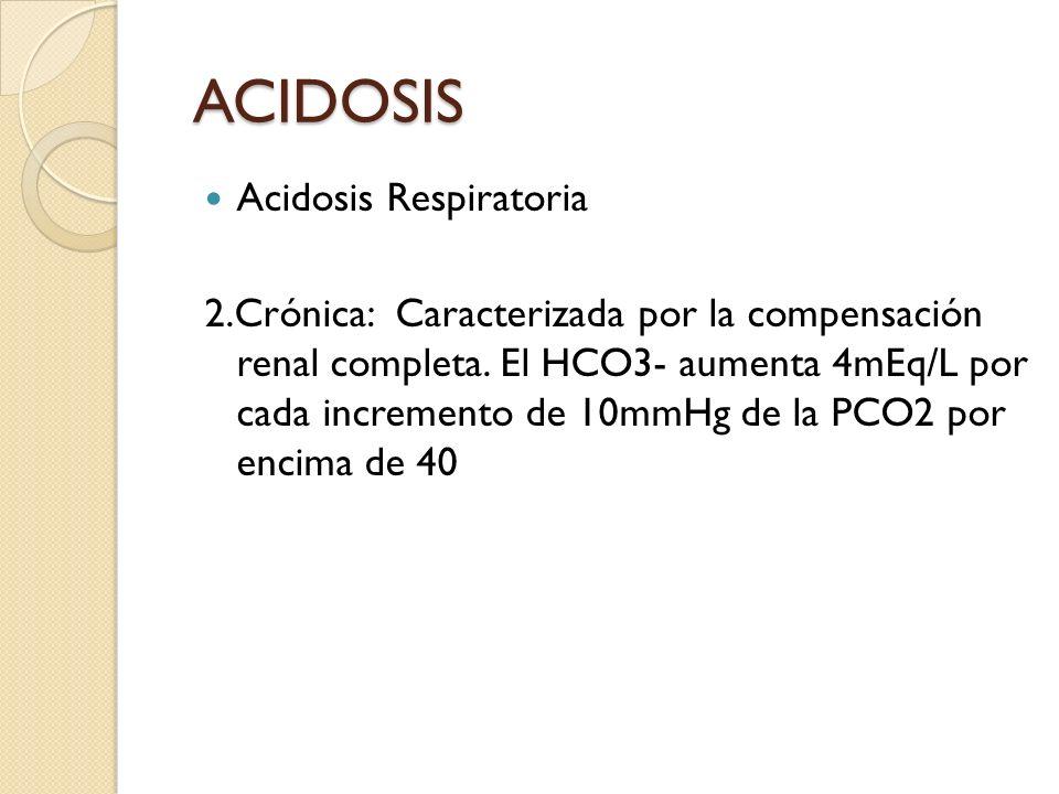 Acidosis Respiratoria 2.Crónica: Caracterizada por la compensación renal completa. El HCO3- aumenta 4mEq/L por cada incremento de 10mmHg de la PCO2 po