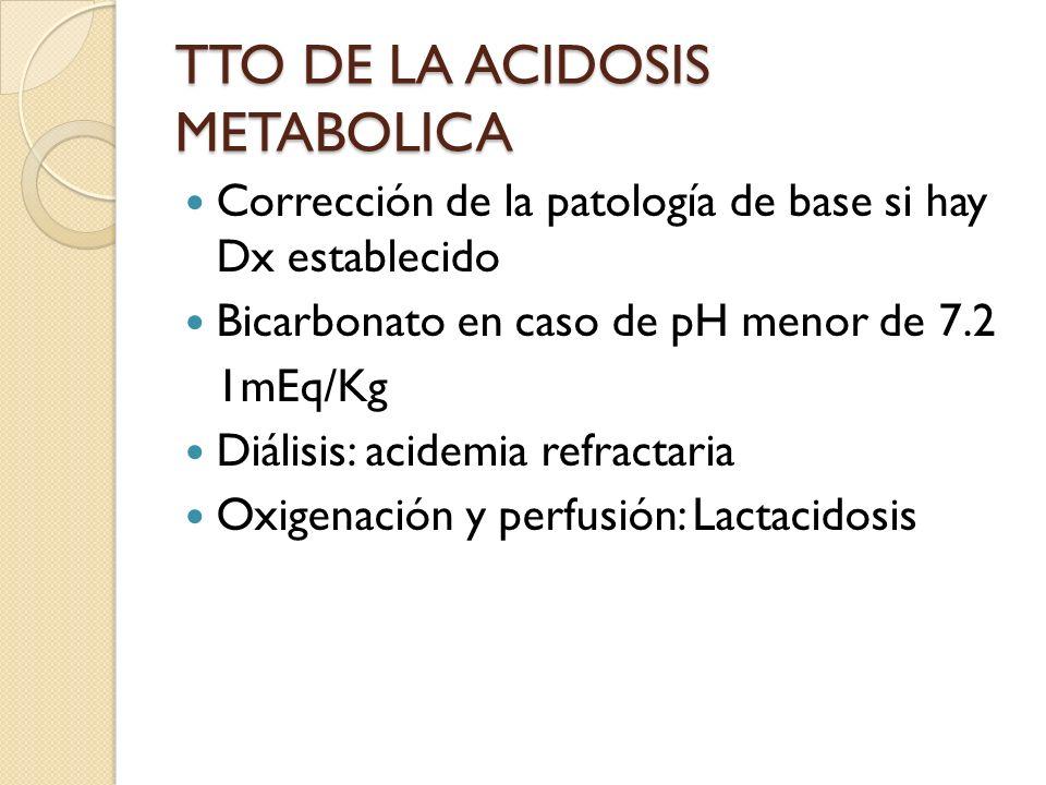 TTO DE LA ACIDOSIS METABOLICA Corrección de la patología de base si hay Dx establecido Bicarbonato en caso de pH menor de 7.2 1mEq/Kg Diálisis: acidem