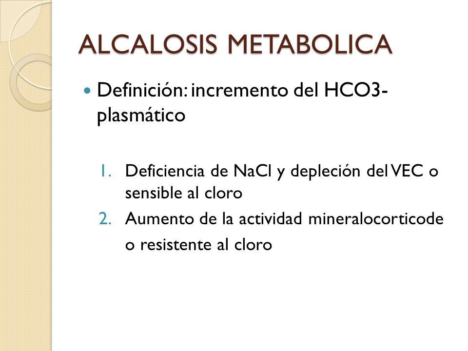 ALCALOSIS METABOLICA Definición: incremento del HCO3- plasmático 1.Deficiencia de NaCl y depleción del VEC o sensible al cloro 2.Aumento de la activid