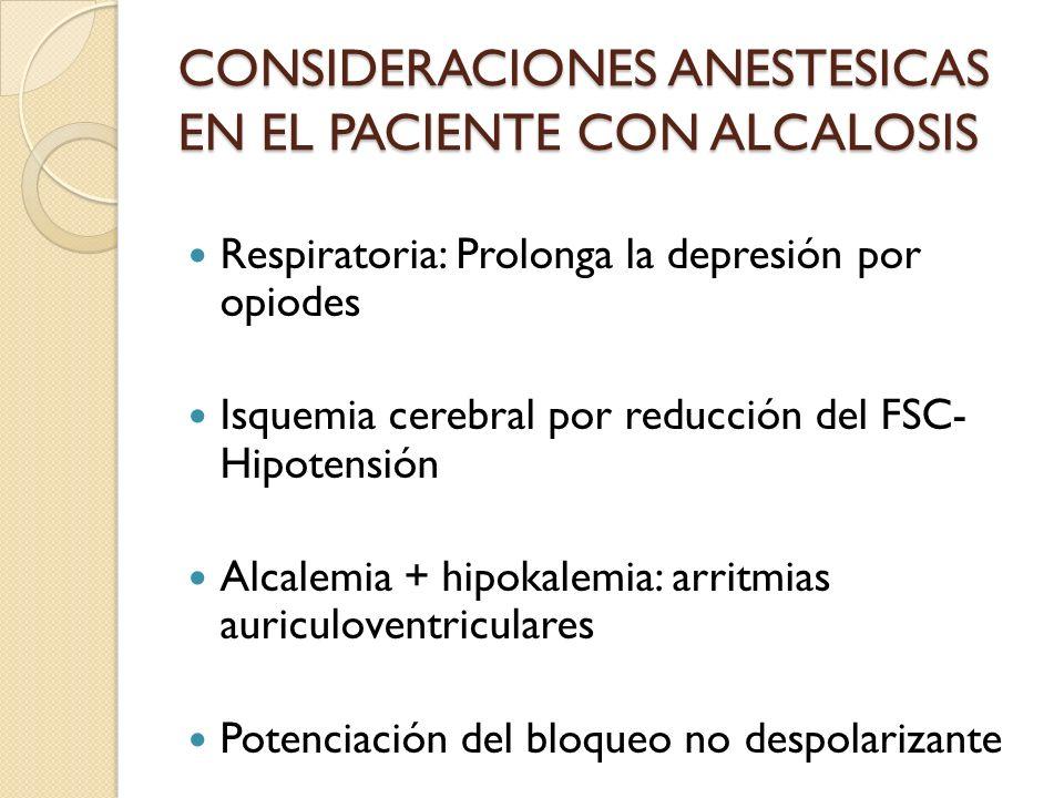 Respiratoria: Prolonga la depresión por opiodes Isquemia cerebral por reducción del FSC- Hipotensión Alcalemia + hipokalemia: arritmias auriculoventri