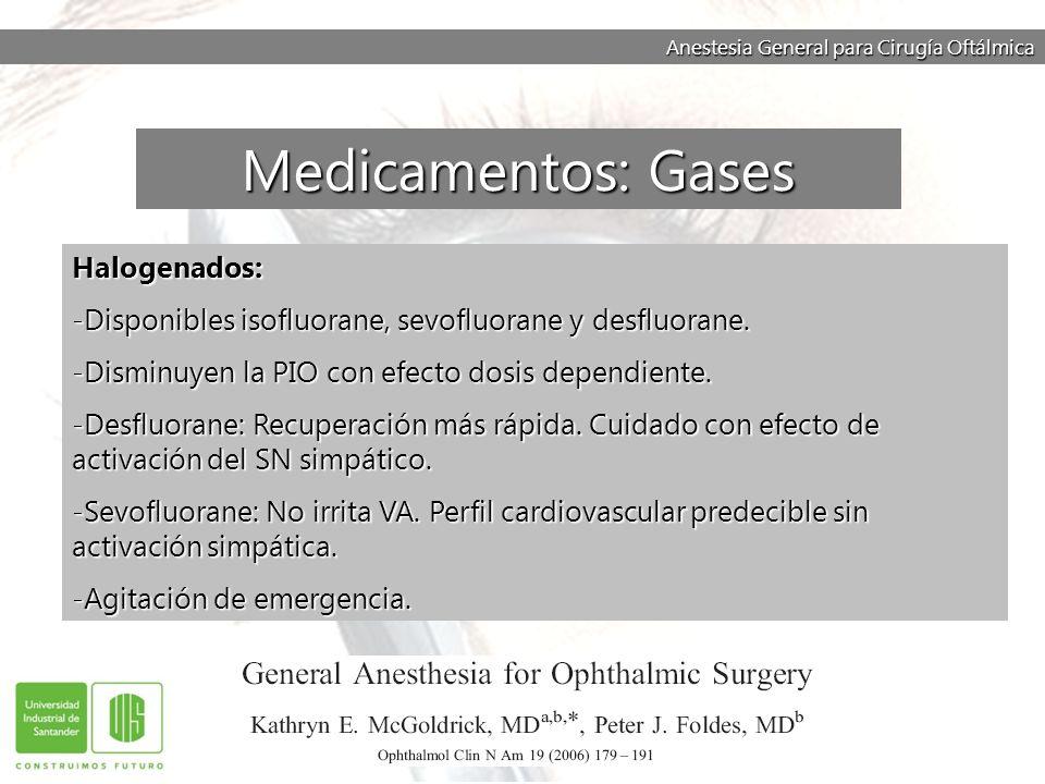 Anestesia General para Cirugía Oftálmica Halogenados: -Disponibles isofluorane, sevofluorane y desfluorane. -Disminuyen la PIO con efecto dosis depend