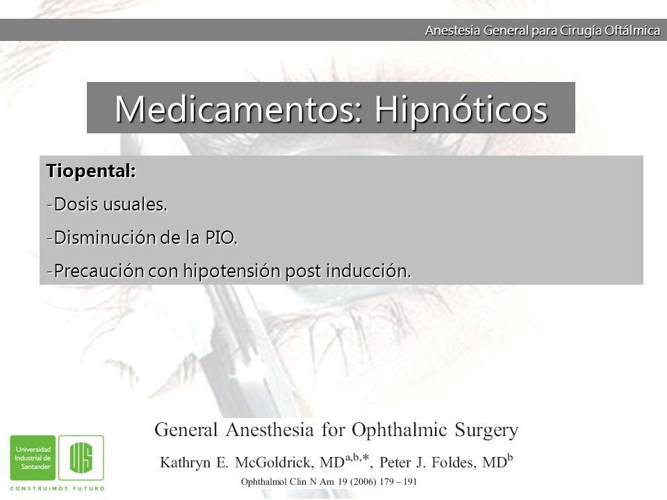 Anestesia General para Cirugía Oftálmica Tiopental: -Dosis usuales. -Disminución de la PIO. -Precaución con hipotensión post inducción. Medicamentos: