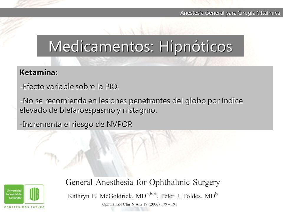 Anestesia General para Cirugía Oftálmica Ketamina: -Efecto variable sobre la PIO. -No se recomienda en lesiones penetrantes del globo por índice eleva