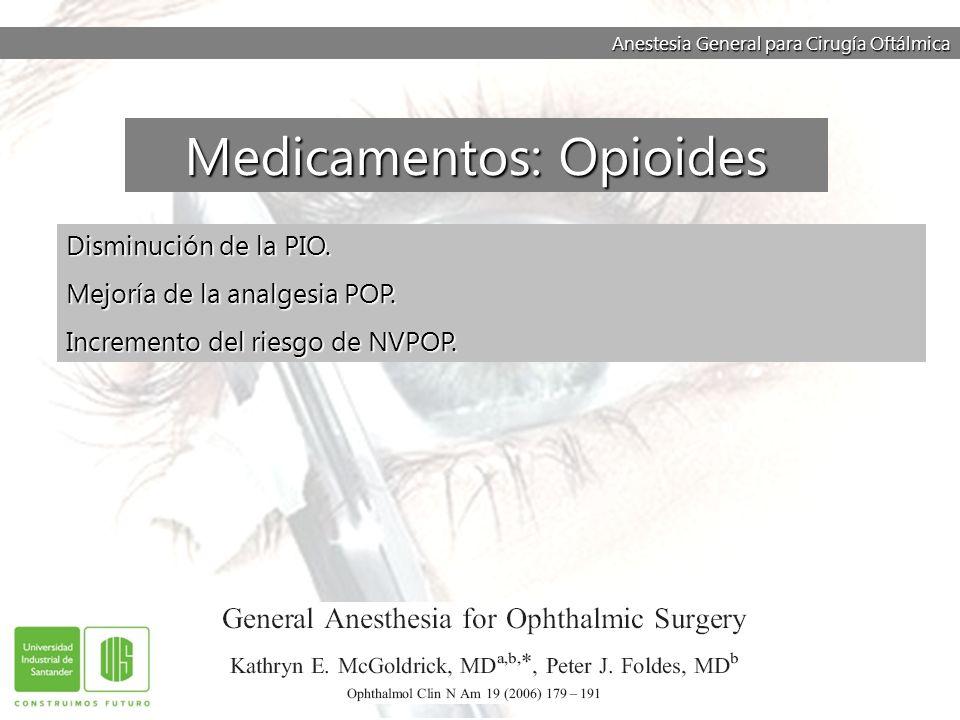 Anestesia General para Cirugía Oftálmica Disminución de la PIO. Mejoría de la analgesia POP. Incremento del riesgo de NVPOP. Medicamentos: Opioides