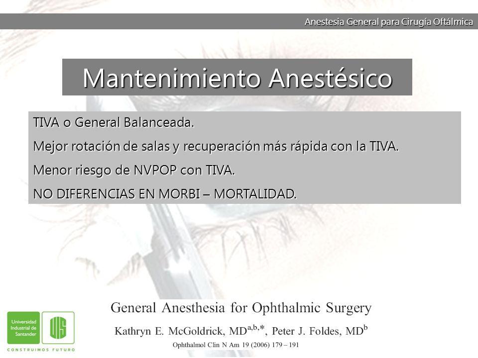 Anestesia General para Cirugía Oftálmica TIVA o General Balanceada. Mejor rotación de salas y recuperación más rápida con la TIVA. Menor riesgo de NVP