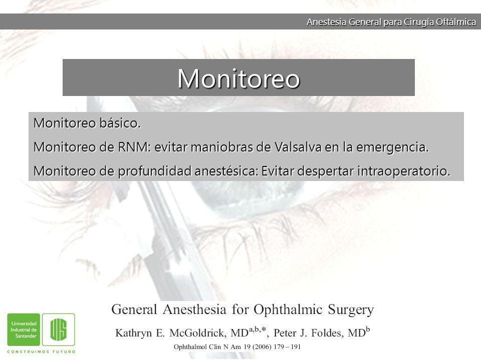 Anestesia General para Cirugía Oftálmica Monitoreo básico. Monitoreo de RNM: evitar maniobras de Valsalva en la emergencia. Monitoreo de profundidad a