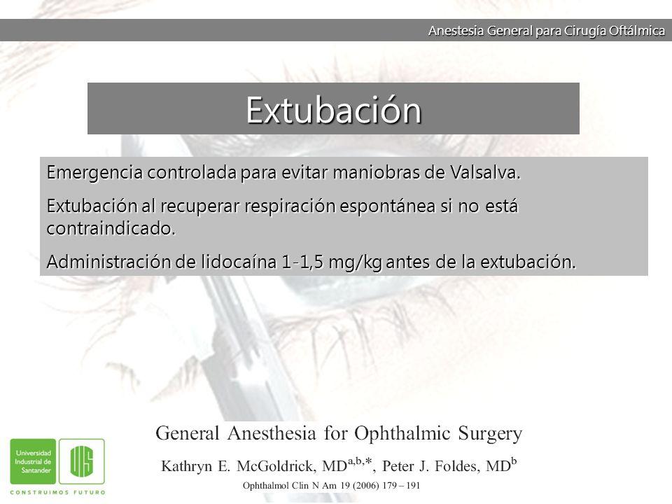 Anestesia General para Cirugía Oftálmica Emergencia controlada para evitar maniobras de Valsalva. Extubación al recuperar respiración espontánea si no