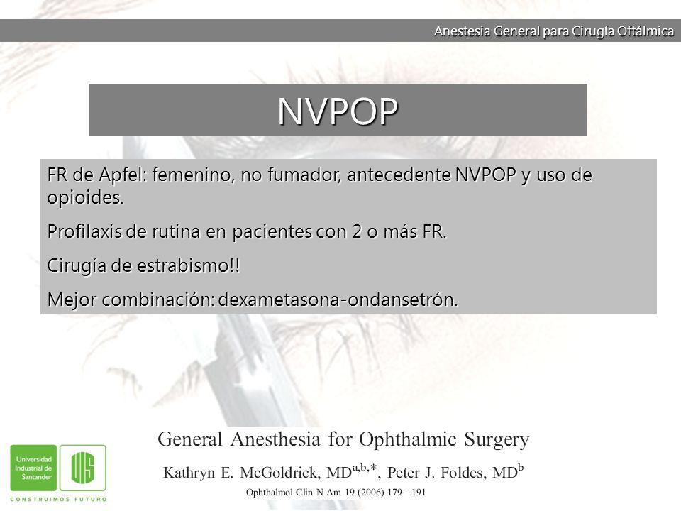 Anestesia General para Cirugía Oftálmica FR de Apfel: femenino, no fumador, antecedente NVPOP y uso de opioides. Profilaxis de rutina en pacientes con