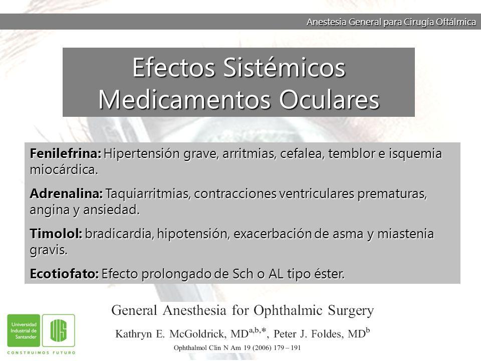 Anestesia General para Cirugía Oftálmica Fenilefrina: Hipertensión grave, arritmias, cefalea, temblor e isquemia miocárdica. Adrenalina: Taquiarritmia