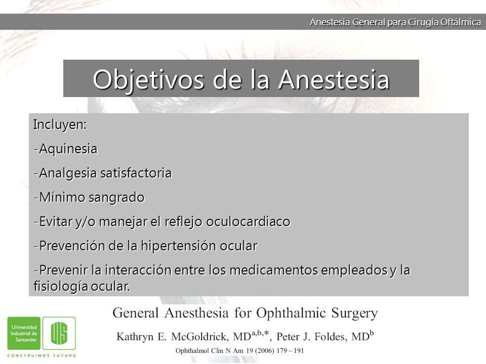 Anestesia General para Cirugía Oftálmica Incluyen: -Aquinesia -Analgesia satisfactoria -Mínimo sangrado -Evitar y/o manejar el reflejo oculocardiaco -