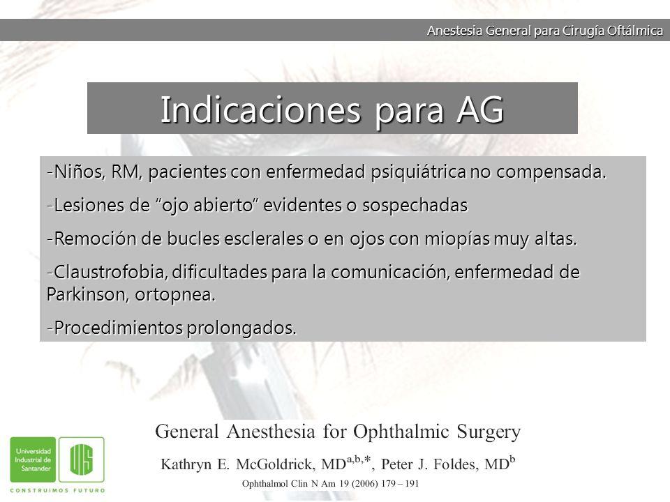 Anestesia General para Cirugía Oftálmica -Mayor posibilidad de complicaciones asociadas con la vía aérea -Mayor incidencia de NVPOP NO SE HA DEMOSTRADO LA SUPERIORIDAD DE ALGUNA TECNICA ANESTESICA EN TERMINOS DE MORBI – MORTALIDAD.
