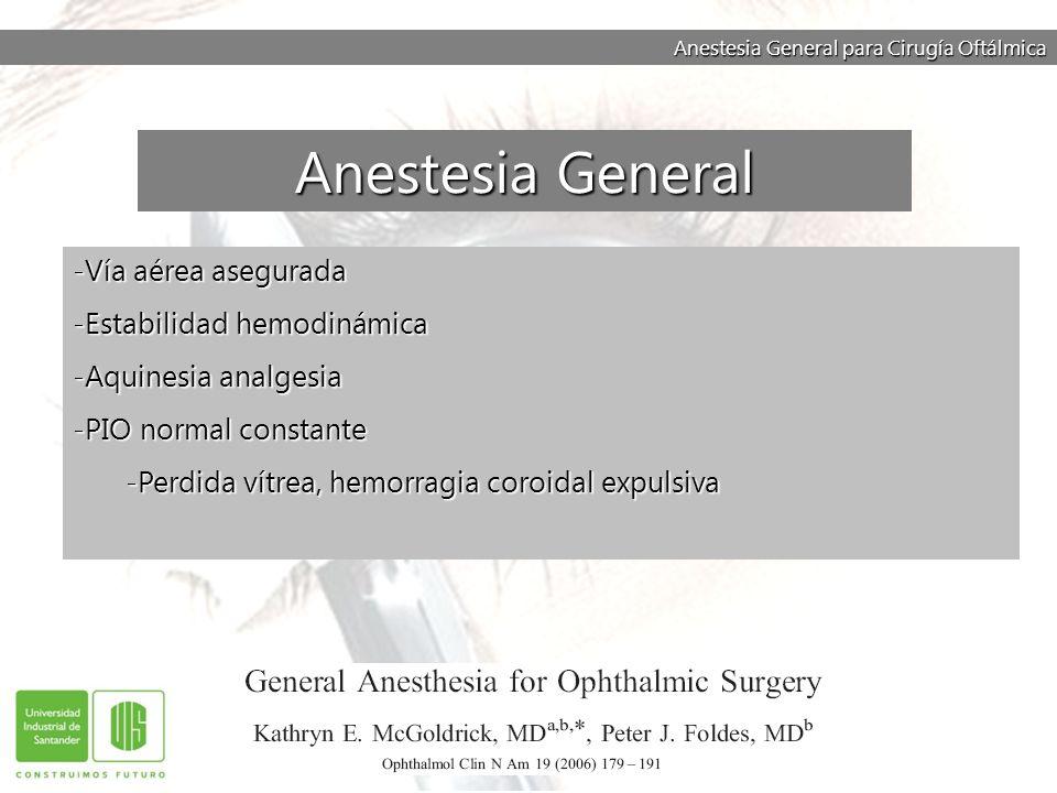 Anestesia General para Cirugía Oftálmica -Vía aérea asegurada -Estabilidad hemodinámica -Aquinesia analgesia -PIO normal constante -Perdida vítrea, he