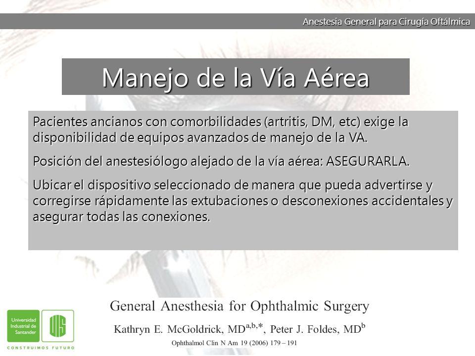 Anestesia General para Cirugía Oftálmica Pacientes ancianos con comorbilidades (artritis, DM, etc) exige la disponibilidad de equipos avanzados de man