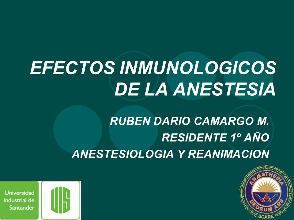 EFECTOS INMUNOLOGICOS DE LA ANESTESIA RUBEN DARIO CAMARGO M. RESIDENTE 1º AÑO ANESTESIOLOGIA Y REANIMACION