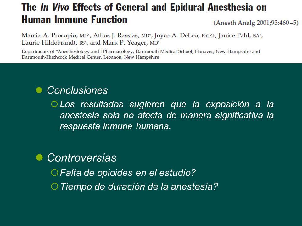 Conclusiones Los resultados sugieren que la exposición a la anestesia sola no afecta de manera significativa la respuesta inmune humana. Controversias