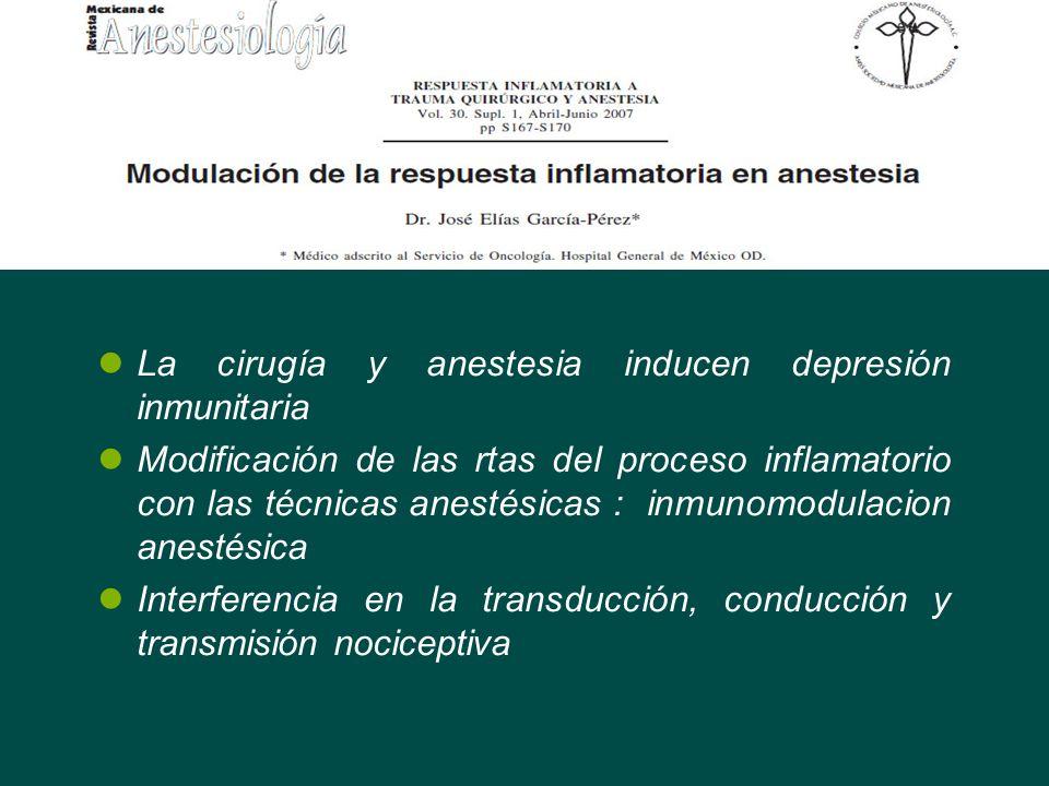 La cirugía y anestesia inducen depresión inmunitaria Modificación de las rtas del proceso inflamatorio con las técnicas anestésicas : inmunomodulacion