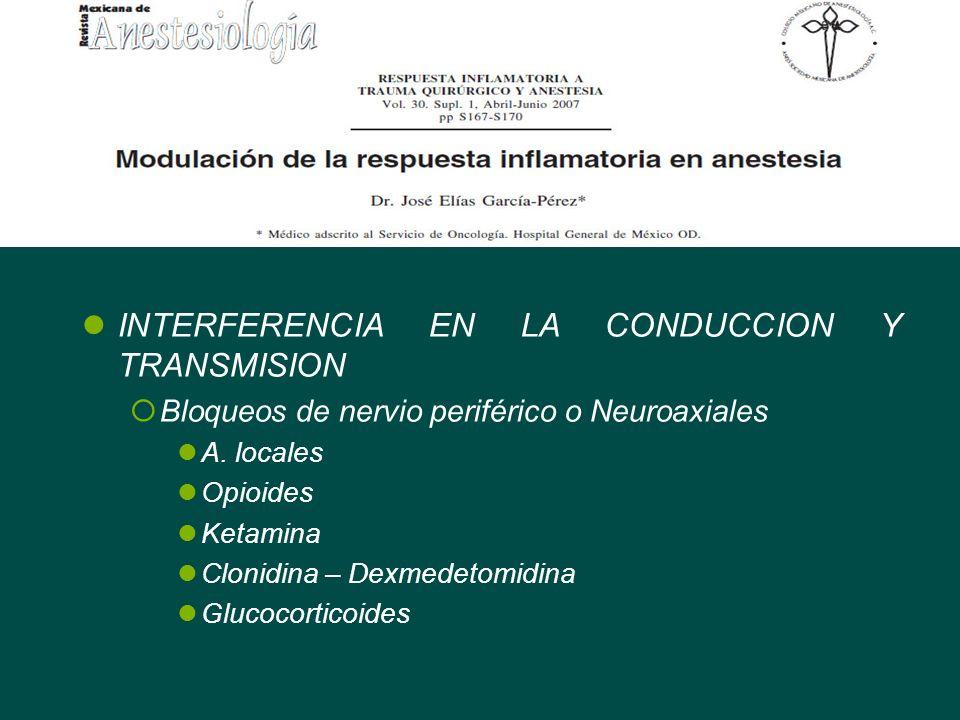 INTERFERENCIA EN LA CONDUCCION Y TRANSMISION Bloqueos de nervio periférico o Neuroaxiales A. locales Opioides Ketamina Clonidina – Dexmedetomidina Glu