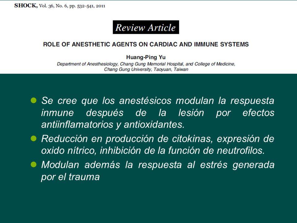 Se cree que los anestésicos modulan la respuesta inmune después de la lesión por efectos antiinflamatorios y antioxidantes. Reducción en producción de
