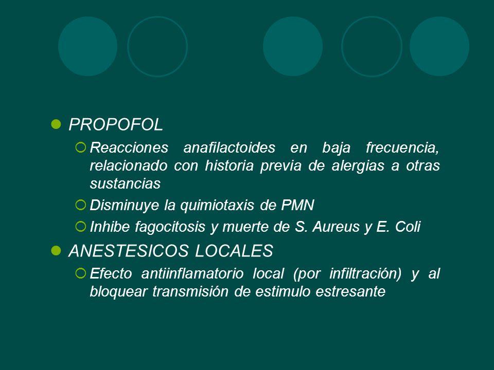 PROPOFOL Reacciones anafilactoides en baja frecuencia, relacionado con historia previa de alergias a otras sustancias Disminuye la quimiotaxis de PMN