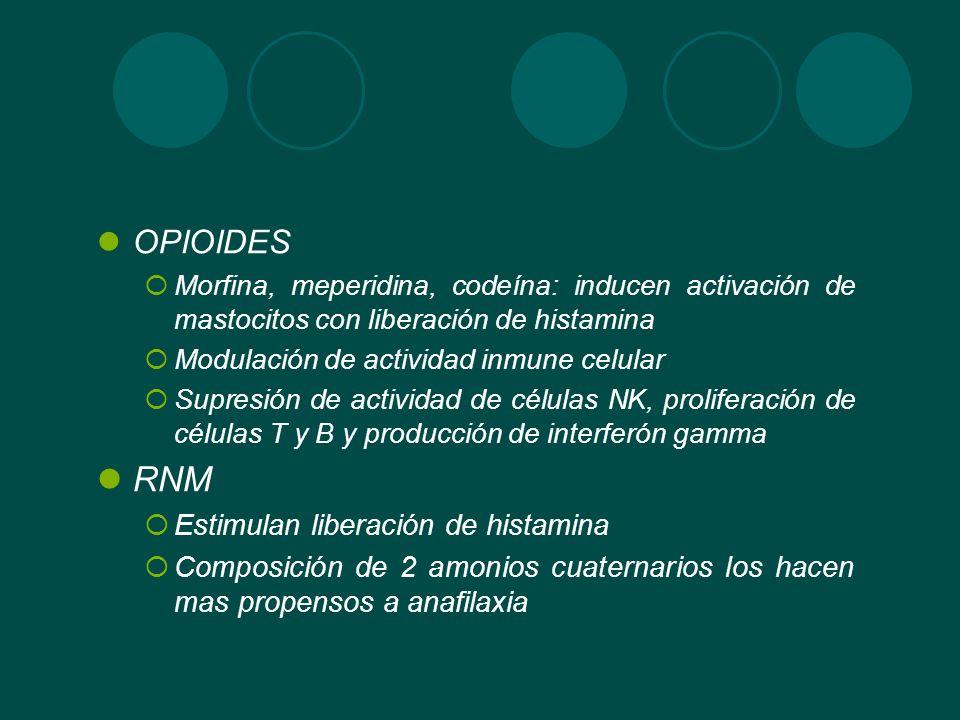 OPIOIDES Morfina, meperidina, codeína: inducen activación de mastocitos con liberación de histamina Modulación de actividad inmune celular Supresión d