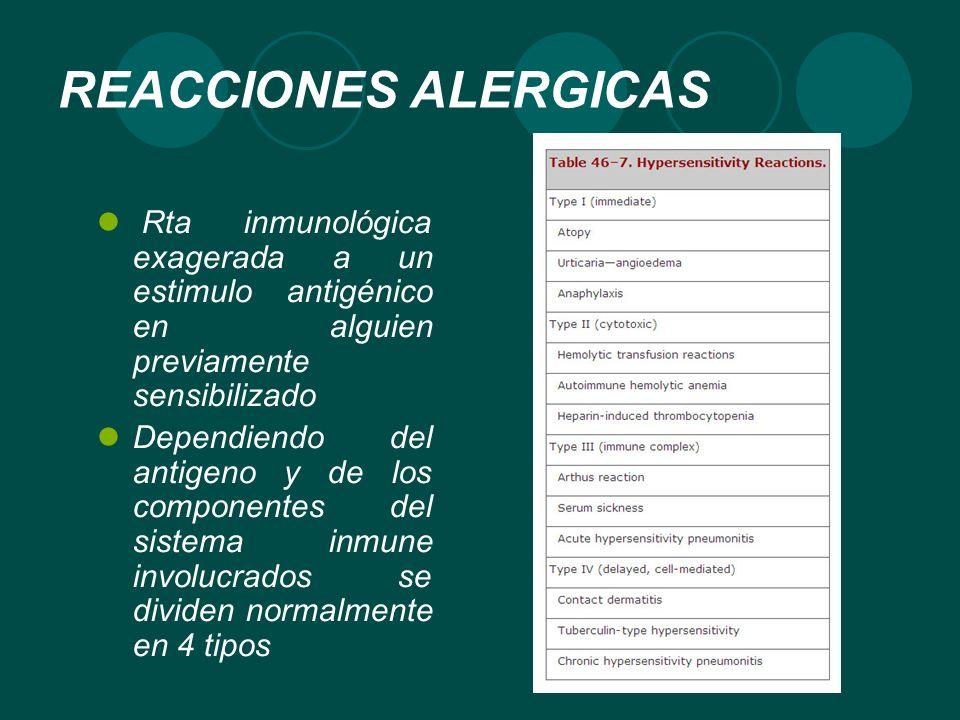 REACCIONES ALERGICAS Rta inmunológica exagerada a un estimulo antigénico en alguien previamente sensibilizado Dependiendo del antigeno y de los compon