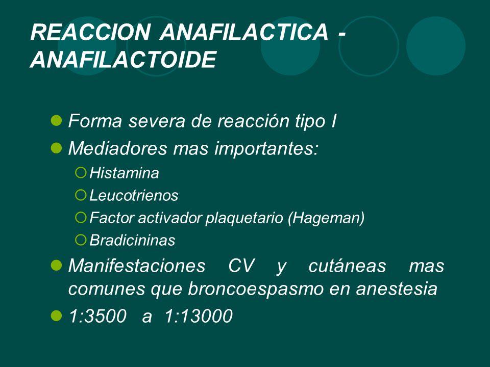 REACCION ANAFILACTICA - ANAFILACTOIDE Forma severa de reacción tipo I Mediadores mas importantes: Histamina Leucotrienos Factor activador plaquetario