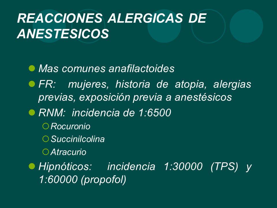 REACCIONES ALERGICAS DE ANESTESICOS Mas comunes anafilactoides FR: mujeres, historia de atopia, alergias previas, exposición previa a anestésicos RNM: