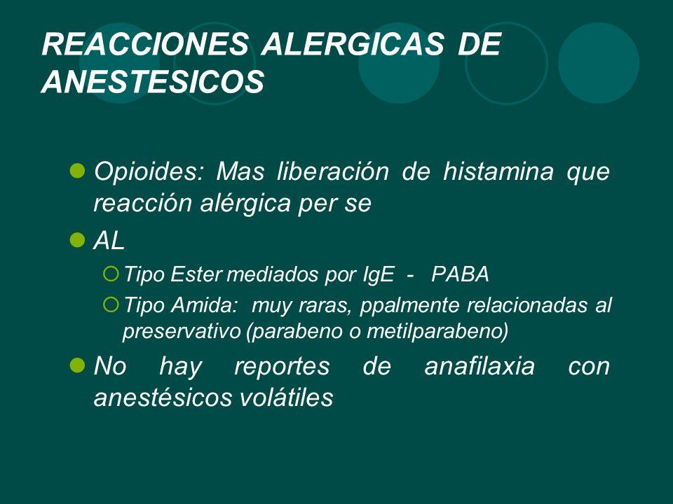 REACCIONES ALERGICAS DE ANESTESICOS Opioides: Mas liberación de histamina que reacción alérgica per se AL Tipo Ester mediados por IgE - PABA Tipo Amid