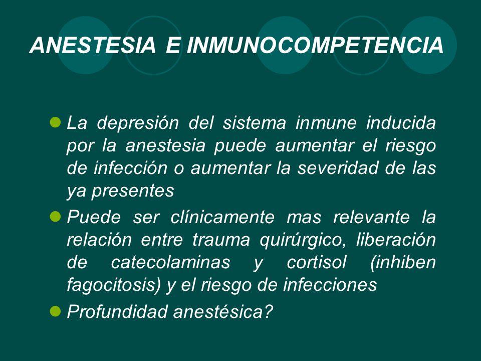 ANESTESIA E INMUNOCOMPETENCIA La depresión del sistema inmune inducida por la anestesia puede aumentar el riesgo de infección o aumentar la severidad