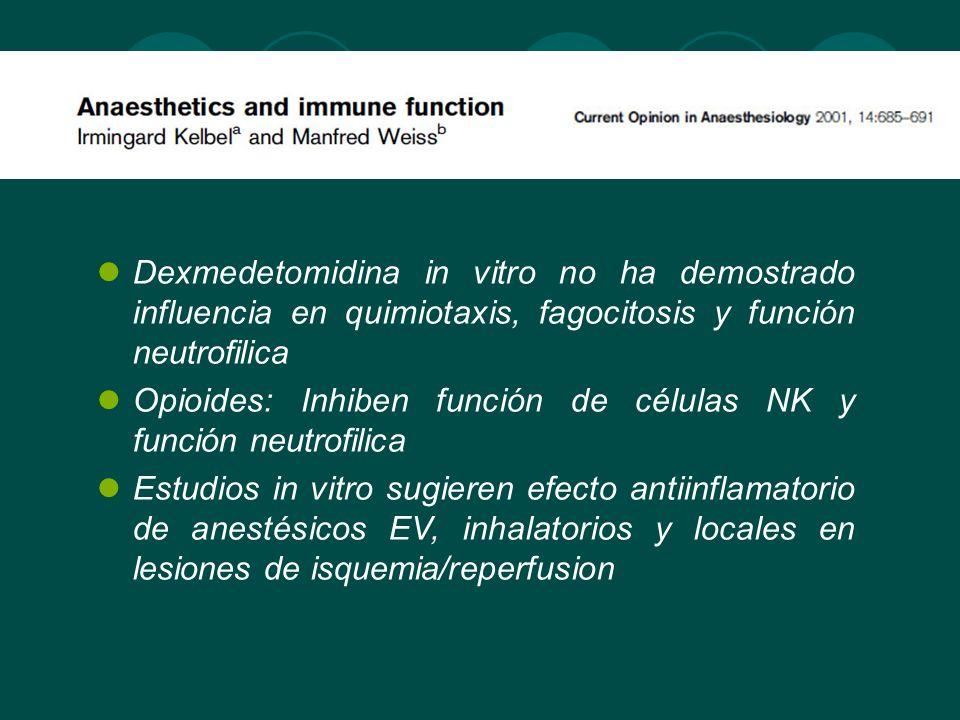 Dexmedetomidina in vitro no ha demostrado influencia en quimiotaxis, fagocitosis y función neutrofilica Opioides: Inhiben función de células NK y func