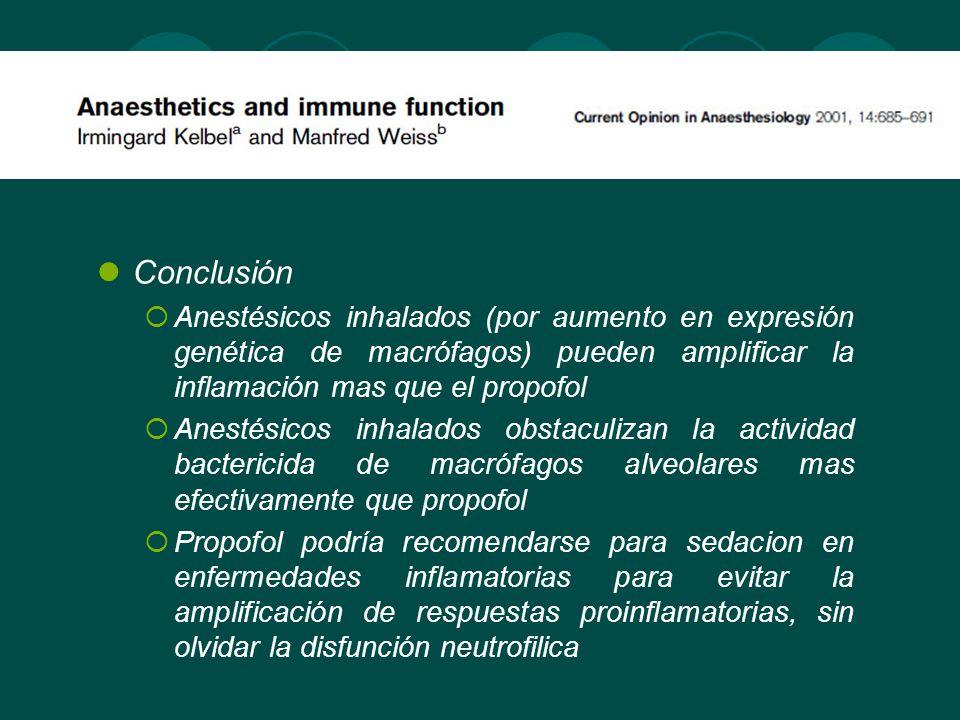 ANESTESICOS EN UCI Propofol y midazolam son frecuentemente usados en las UCIs para sedacion Se ha demostrado in vitro inhibición de la función inmune Predisposición a desarrollo o empeoramiento de infecciones con la sedacion prolongada Mayor efecto antiinflamatorio del midazolam respecto a propofol tras 48 horas de sedacion