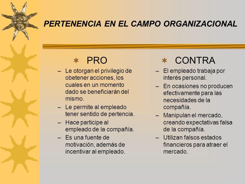 PERTENENCIA EN EL CAMPO ORGANIZACIONAL PRO –Le otorgan el privilegio de obetener acciones, los cuales en un momento dado se beneficiarán del mismo.
