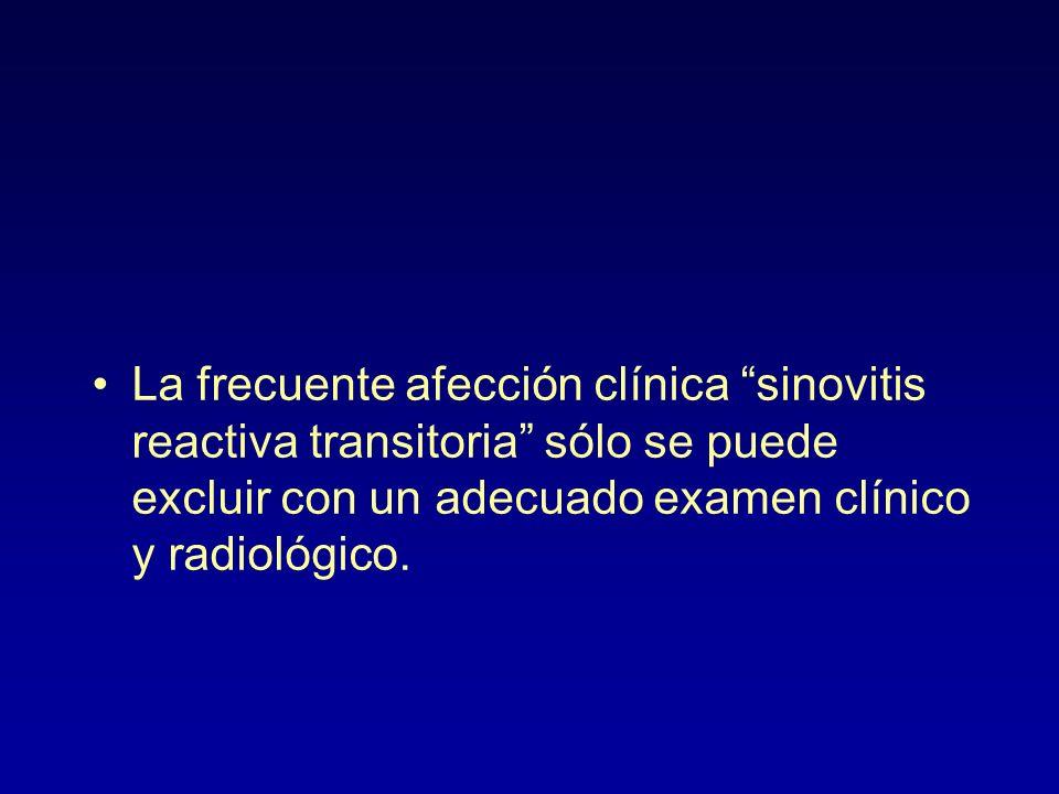 La frecuente afección clínica sinovitis reactiva transitoria sólo se puede excluir con un adecuado examen clínico y radiológico.