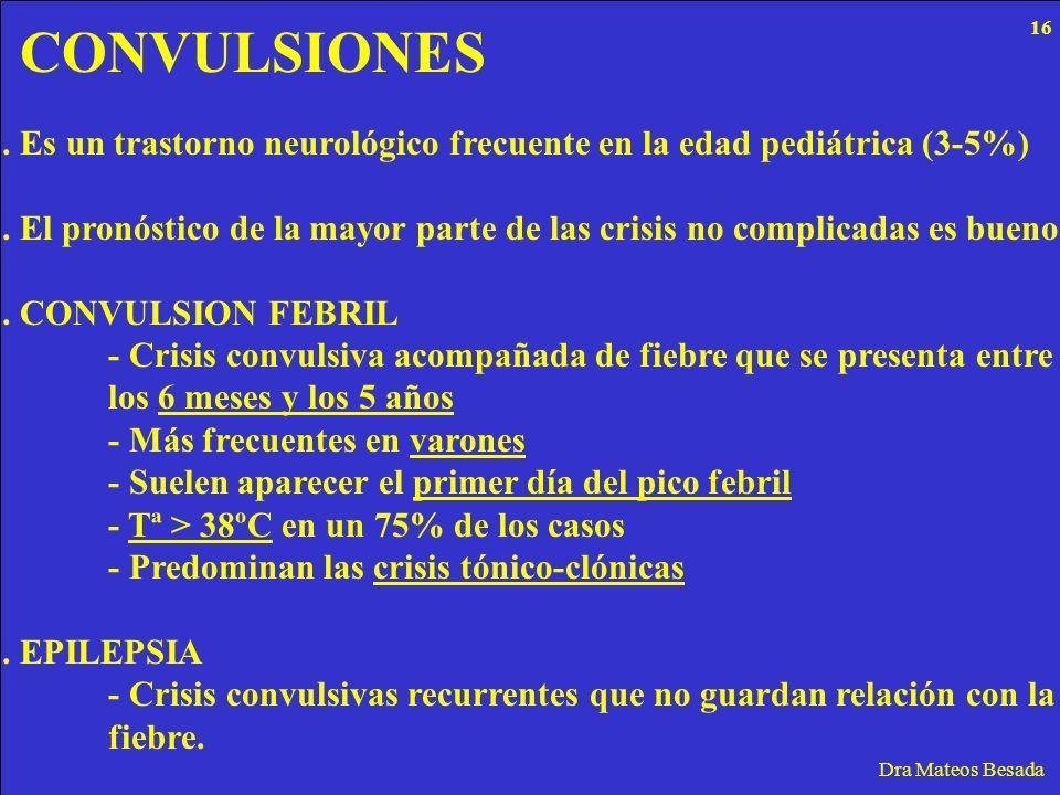 CONVULSIONES Dra Mateos Besada. Es un trastorno neurológico frecuente en la edad pediátrica (3-5%). El pronóstico de la mayor parte de las crisis no c