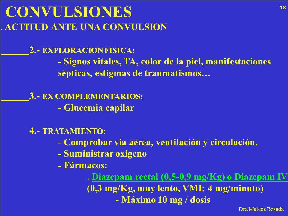 CONVULSIONES Dra Mateos Besada. ACTITUD ANTE UNA CONVULSION 2.- EXPLORACION FISICA: - Signos vitales, TA, color de la piel, manifestaciones sépticas,