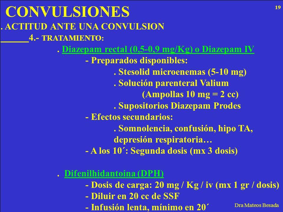 CONVULSIONES Dra Mateos Besada. ACTITUD ANTE UNA CONVULSION 4.- TRATAMIENTO:. Diazepam rectal (0,5-0,9 mg/Kg) o Diazepam IV - Preparados disponibles:.
