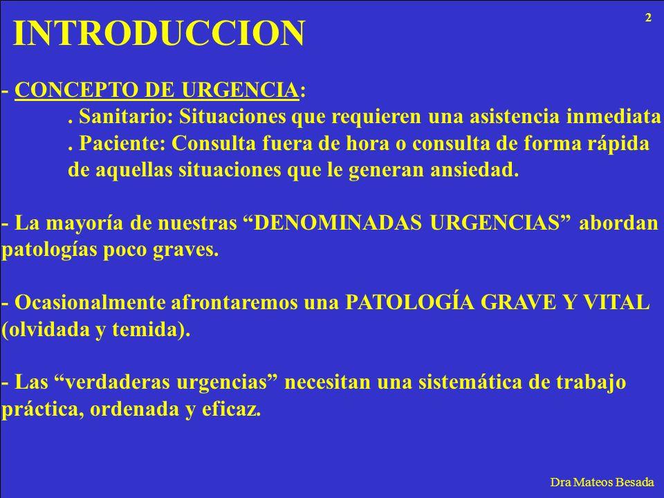 INTRODUCCION Dra Mateos Besada - CONCEPTO DE URGENCIA:. Sanitario: Situaciones que requieren una asistencia inmediata. Paciente: Consulta fuera de hor