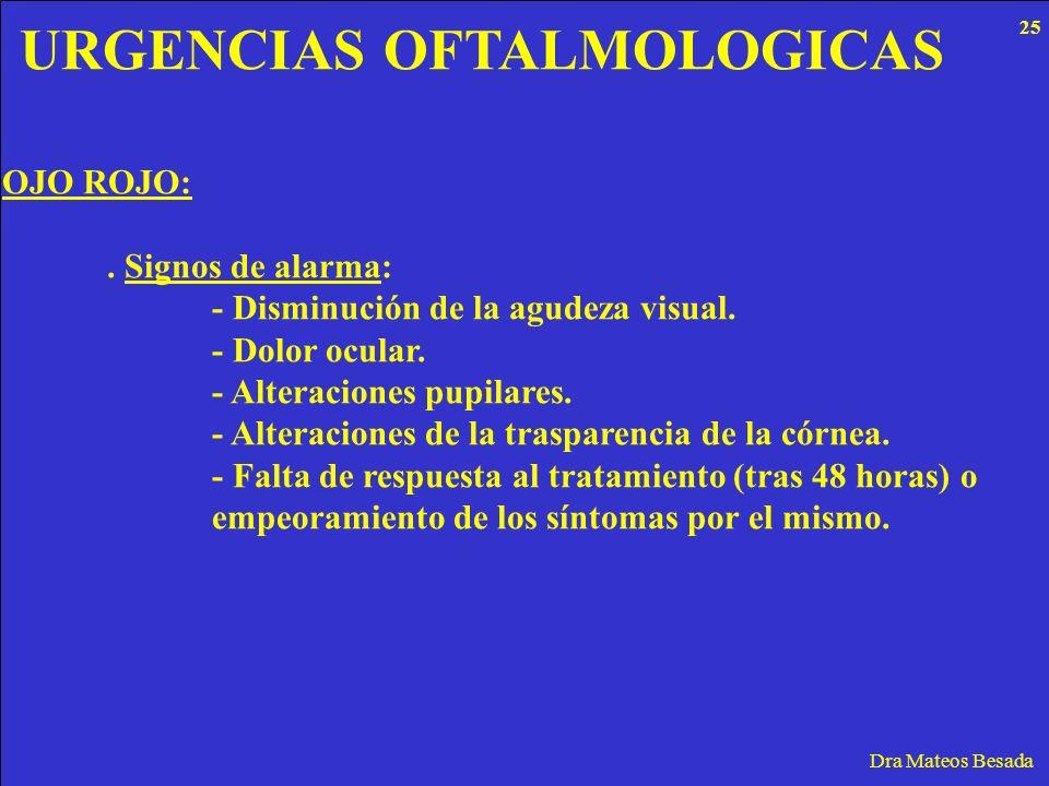 URGENCIAS OFTALMOLOGICAS Dra Mateos Besada OJO ROJO:. Signos de alarma: - Disminución de la agudeza visual. - Dolor ocular. - Alteraciones pupilares.