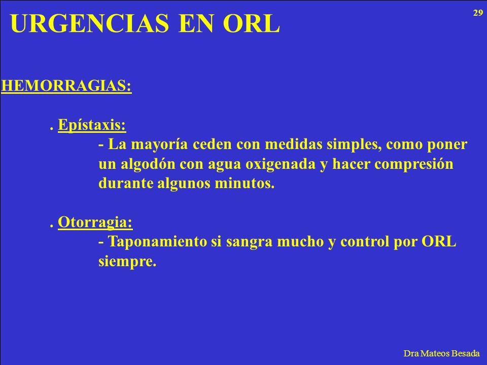 URGENCIAS EN ORL Dra Mateos Besada HEMORRAGIAS:. Epístaxis: - La mayoría ceden con medidas simples, como poner un algodón con agua oxigenada y hacer c